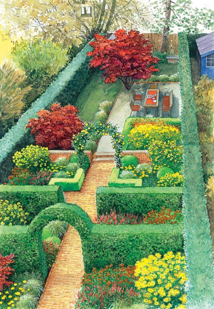 Городской сад в классическом стиле с английским оттенком.