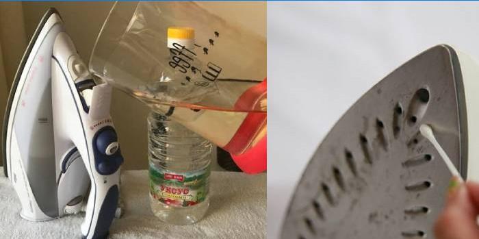 Уксус и вода-Очистить утюг от накипи в домашних условиях